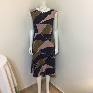 Ann Taylor Pink Blue Brown Midi Aline Dress 6 M